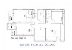 Ready Flat Mirpur-12 GAS Lift OK 3rd-Floor 1328sft Near pallabi post-Offiece 2 minite