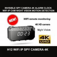 Spy Camera 4K Invisible Digital Alarm Clock Wifi IP Camera Hidden Cam