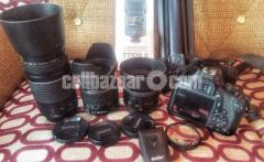 Canon1300D with 3 lenses, 1 flash and more