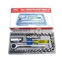 Aiwa 40 Pcs Multi Purpose Combination Socket Wrench Set With Box Code:DJ-7887