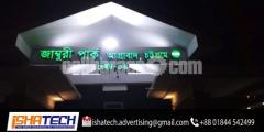 S.S. LED Acrylic Top High Letter  With ACP Board Background.