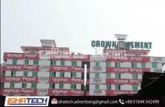 Neon Sign Board Lighting Crown Cement.