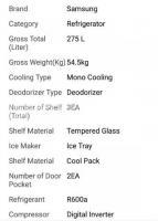 Samsung Refrigerator 275L - silver..