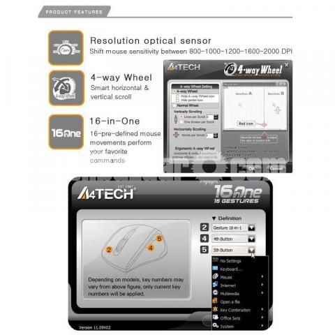 A4Tech Wireless Padless Mouse - 3/4