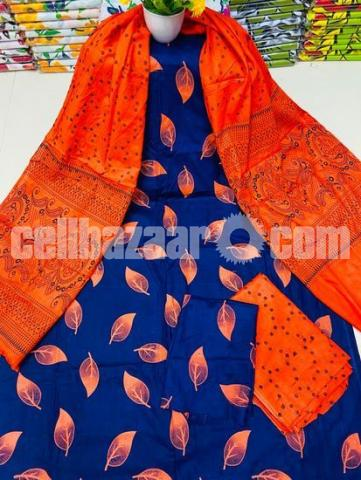 Fashionable Arong Print Cotton Unstitched 3pcs For Women - 2/5