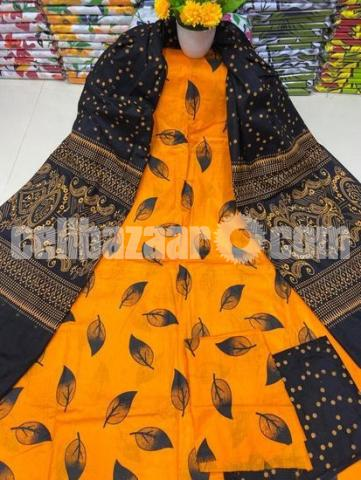 Fashionable Arong Print Cotton Unstitched 3pcs For Women - 3/5