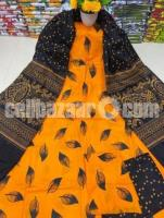 Fashionable Arong Print Cotton Unstitched 3pcs For Women - Image 3/5