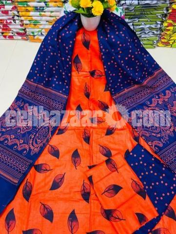 Fashionable Arong Print Cotton Unstitched 3pcs For Women - 4/5
