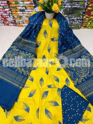 Fashionable Arong Print Cotton Unstitched 3pcs For Women - 5/5