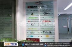 Tempered Glass Name Plate and Acp Board Branding with UB Print Fitting SS nop Indoor