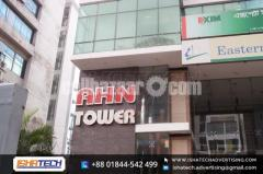 SS Top Acrylic Letter and LED Lighting Bata Model Signboard with Background Acp Board Branding