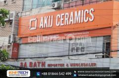 SS Top Acrylic High Letter with Acp Board Background IshaTech Advertising Branding