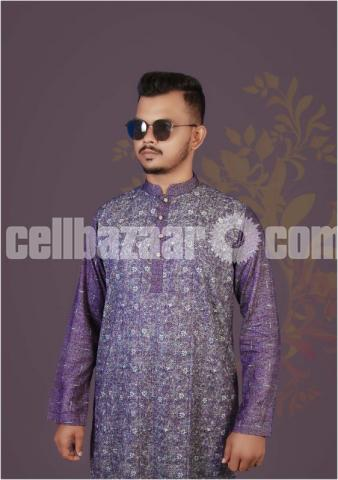 Stylish and Fashionable Semi Long Cotton Panjabi For Men - 1/1
