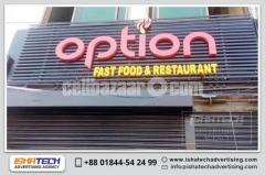 Acrylic Top Letter and LED Lighting Signboard With Background Lubar Indoor Outdoor Sign