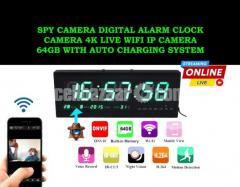 Spy Camera Digital Clock 4K Live Wifi IP Camera 64GB Auto Charging System