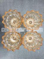 Brand New Chinese 4 piece Crystal Glass Bowl on Foot Set