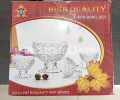 Brand New Chinese 7 piece Crystal Glass Bowl on Foot Set