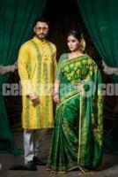 Fashionable Punjabi with Half Silk Saree - Couple Set