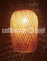 Earth friendly Bamboo Made Oval Shaped Hanging Lamp Shade - ECB