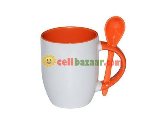 Inside & handle mug with spoon - 3/4