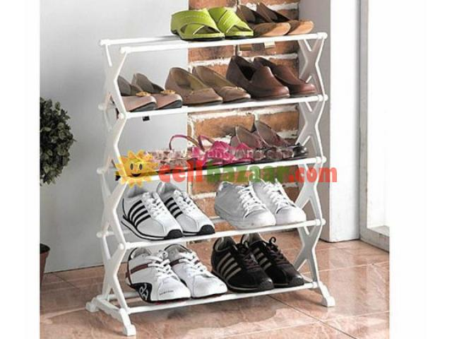 5 Tier Foldable Stainless Steel Shoe Rack 15 Pair - 1/2