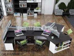 Modern Office Desk With Cabinate