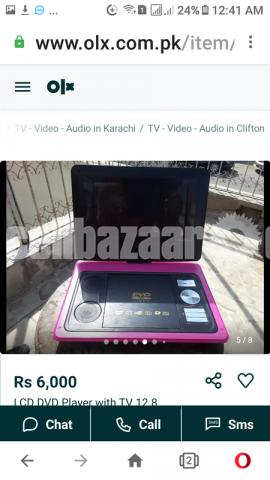 LCD DVD Player with 12.8 inches TV  Black Color - 3/5