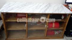Shegun wood showcase with Marble top