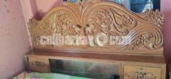 Bed with side cabinet (Sagun wood)