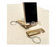 Bamboo Key Ring  Mobile Stand