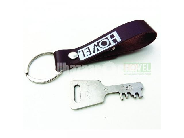 Leather Key Ring Dubble Button - 2/3