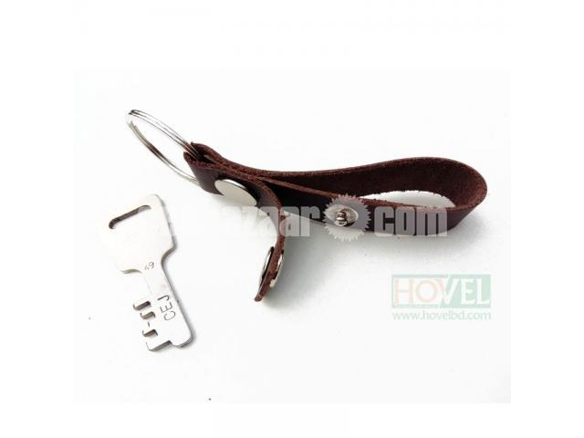 Leather Key Ring Dubble Button - 3/3