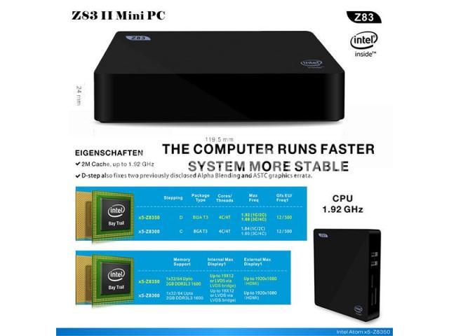 Z83II Intel Atom x5-Z8350 64bit Win10 Mini PC 2GB DDR3 RAM USB 3.0 Wifi Bluetooth 4.1 - 3/5