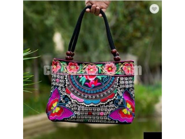Navy floral embroidered ladys Bag - 1/1