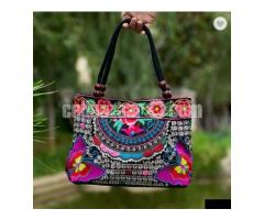 Navy floral embroidered ladys Bag