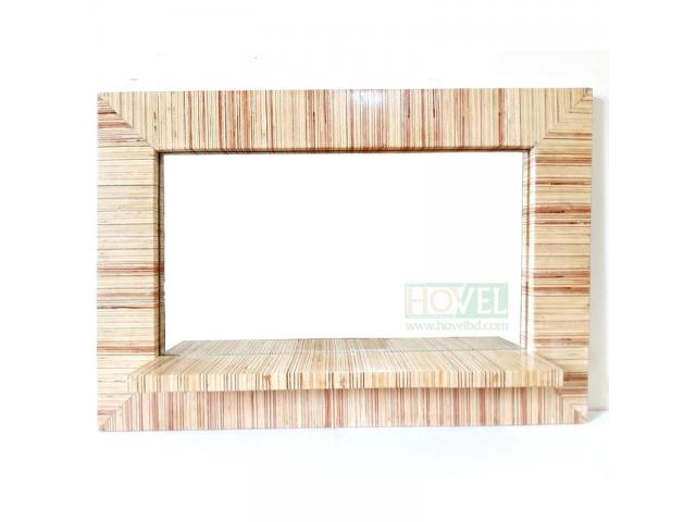 Ply Wood Mirror Frame with Shelf - 1/3