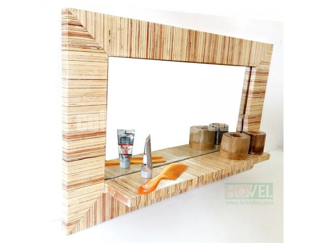 Ply Wood Mirror Frame with Shelf - 2/3