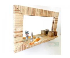 Ply Wood Mirror Frame with Shelf