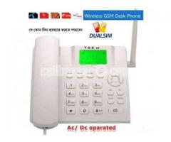 Any 2 Sim Support Gsm Home Land Phone With Fm Radio
