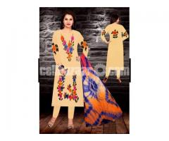 Unstiched brush printed cotton replica salwar kameez seblock-617