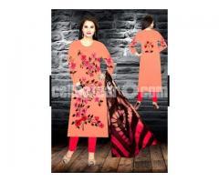 Unstiched brush printed cotton replica salwar kameez seblock-618