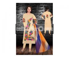 Unstiched brush printed cotton replica salwar kameez seblock-619