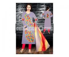 Unstiched brush printed cotton replica salwar kameez seblock-620