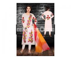 Unstiched brush printed cotton replica salwar kameez seblock-621