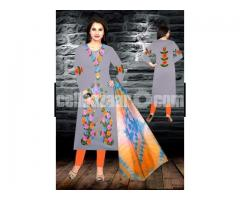 Unstiched brush printed cotton replica salwar kameez seblock-623
