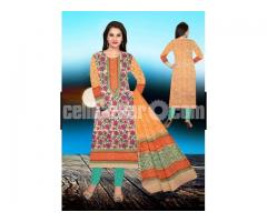 Unstiched block printed cotton replica salwar kameez seblock-627