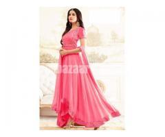 un-stitched pink georgette gown style salwar kameez sonal-1908