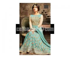 un-stitched  georgette with embroidery work floor length salwar kameez