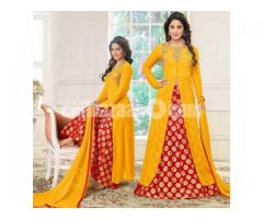 un-stitched  georgette with embroidery palazzo salwar kameez