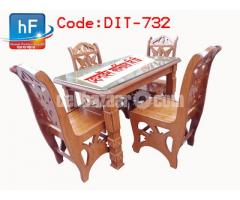 Modern dining table set  furniture has 4 chairs, 10 mm glass